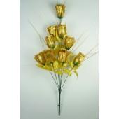 Букет бутонов роз парча с золотистой осокой БС034зол