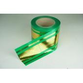 Лента с золотой полоской 8 см * 50 у с рисунком ЛЗПР-8 зеленый